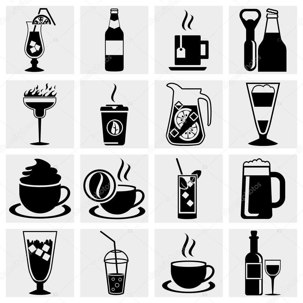 Vector black drinks & beverages icons set