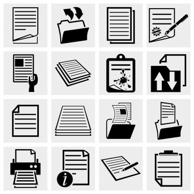 Collection of document icons , paper and file vector icon set isolated on grey background.EPS file available stock vector