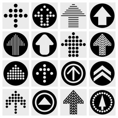 Arrow sign icon set. Simple circle shape internet button on gray background.