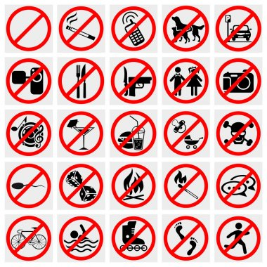 Collection of no stop sign, no smoking, no dog or pets vector icons set on grey background.EPS file available stock vector
