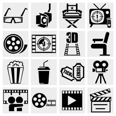 Movie vector icon set on gray