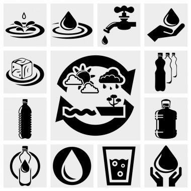 Water vector icons set.