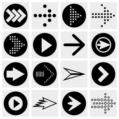 Arrow sign vector icon set. Simple circle shape internet button on gray background.