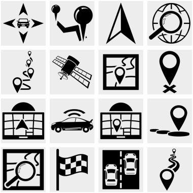 Navigation vector icon set on gray