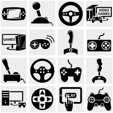 Video game vector icon set on gray
