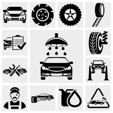 Car service vector icon set.