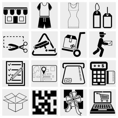 Shopping vector icons set.