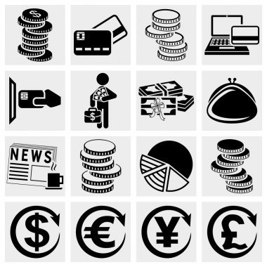 Money vector icons set.