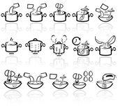 Fotografia icone vettoriali istruzioni di cottura impostato. EPS 10