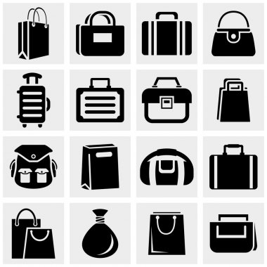 Shopping bag vector icons set on gray.