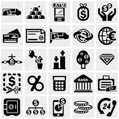 Business & Finance vector icons set on gray