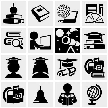 Education vector icons set on gray.