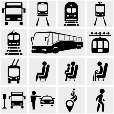 Public transportation vector icons set on gray.