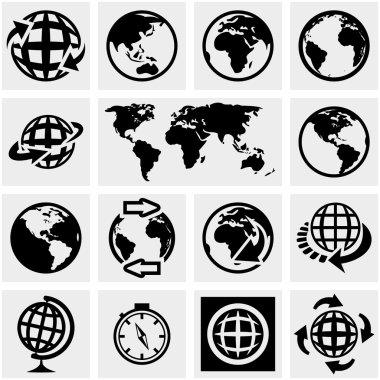 Globe earth vector icons set on gray.