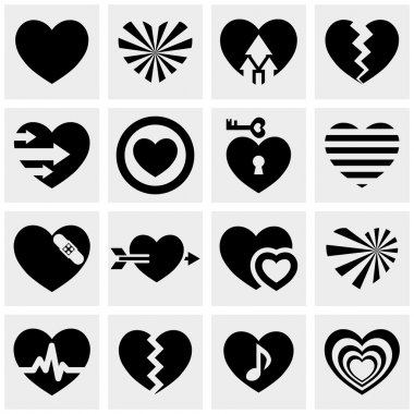 Hearts vector icons set on gray. Love signs.