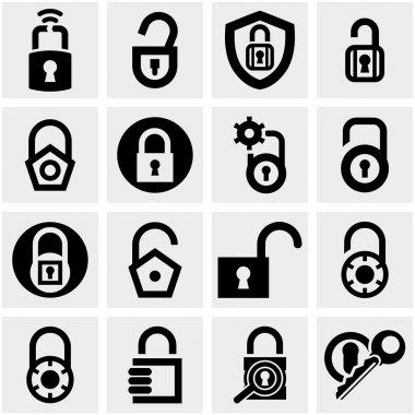 Lock vector icons set on gray.