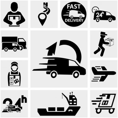Shipping and delivery vector icons set on gray.