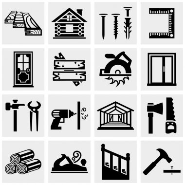 Carpentry vector icons set on gray