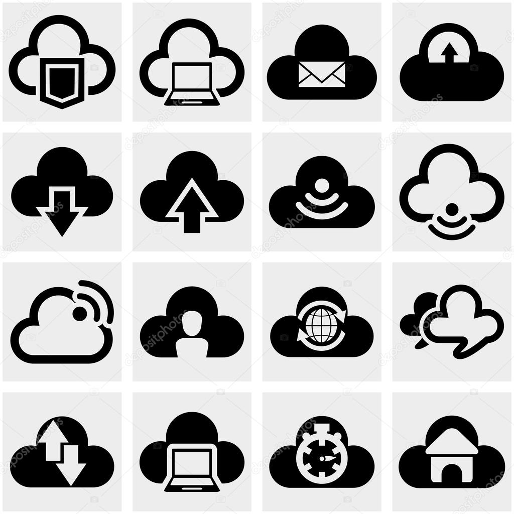 Cloud vector icons set on gray.