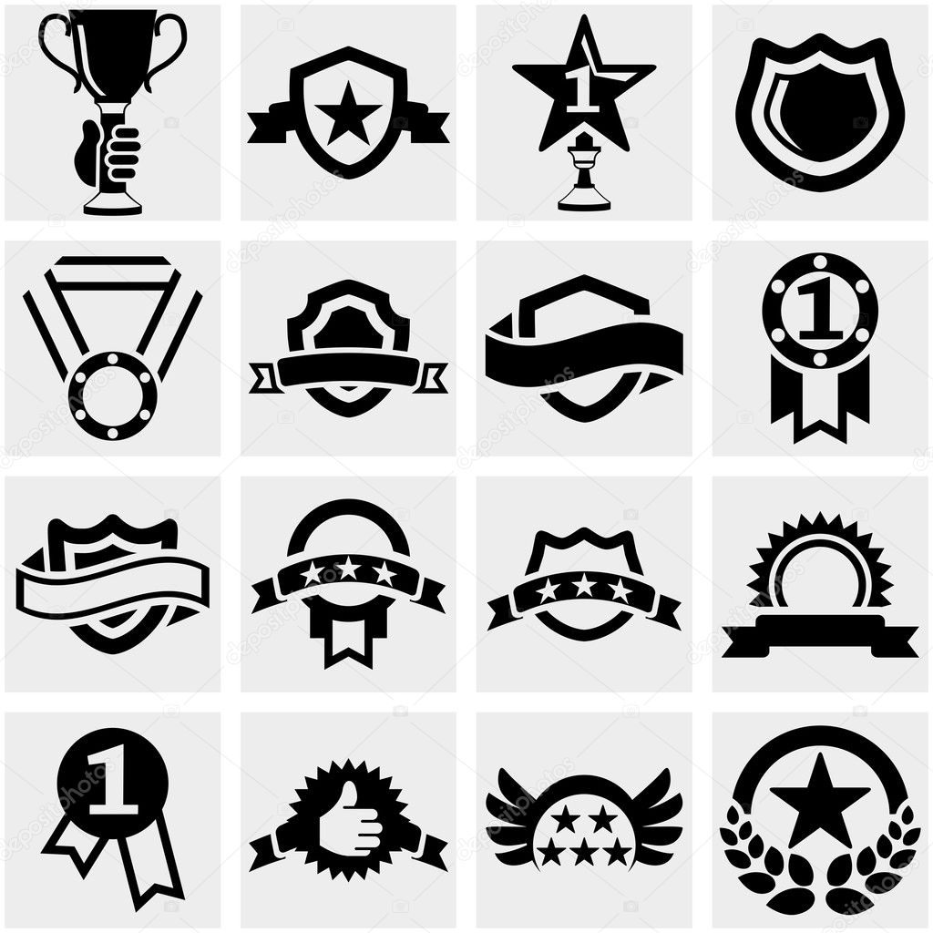 Trophy and awards vector icons set on gray.