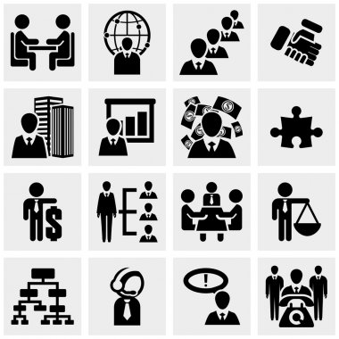 Human resources and management, business persons and users vector icon set on gray