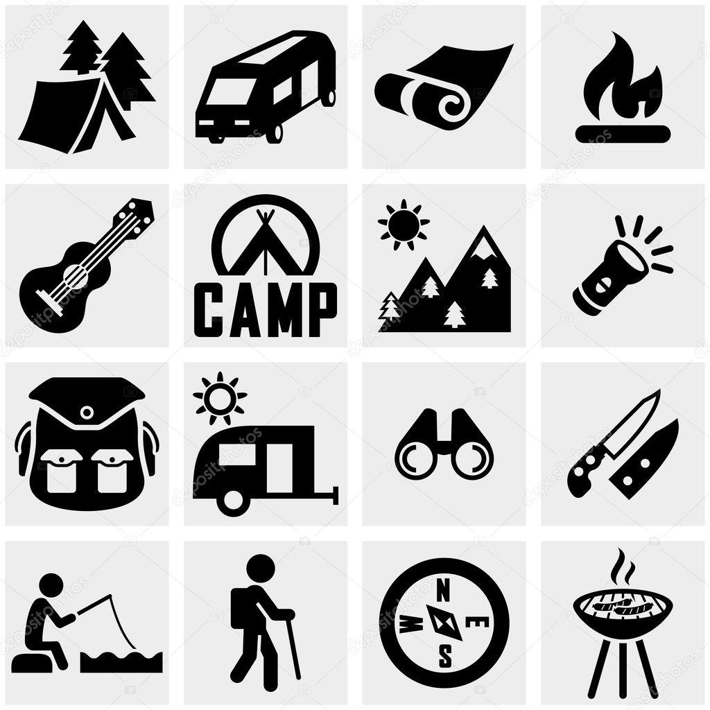 camping vector icon set on gray � stock vector 169 alexynder