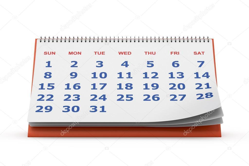Calendrier de bureau isol sur blanc photographie alexynder 39022137 - Calendrier sur le bureau ...