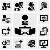podpora, práce na počítač ikony na šedé