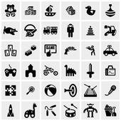 Fotografie hračky vektorové ikony na šedé
