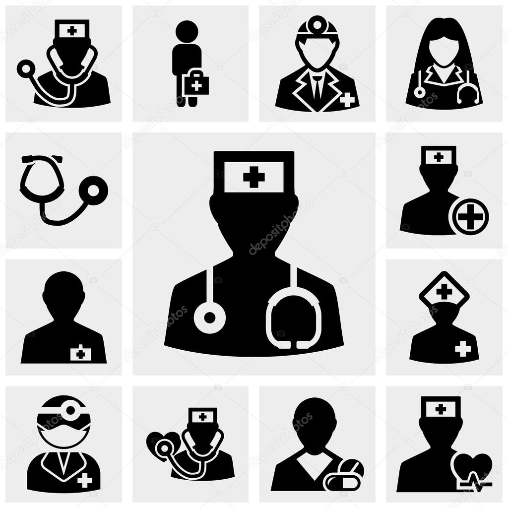 Doctor and nurses icons set on gray