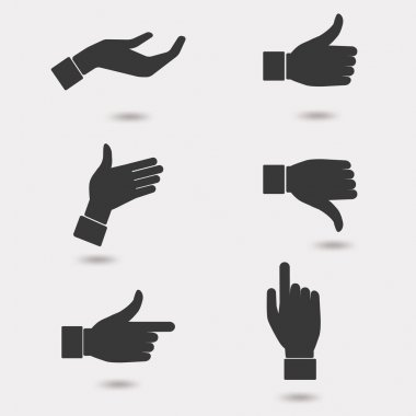Business hand icon set