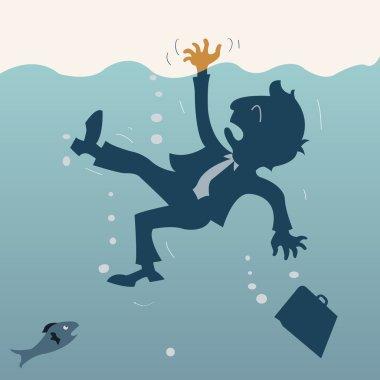 Drowning business man