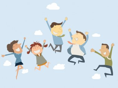 Happy business teamwork jumping