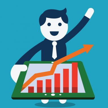 Happy businessman holding tablet computer in his hand and see rising arrow with growing statistic. clip art vector
