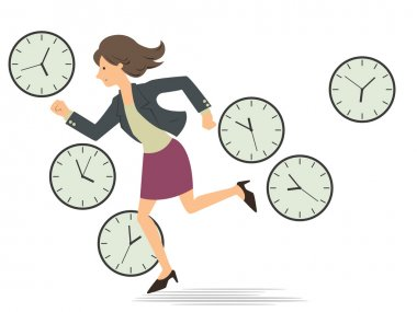 Woman running with time