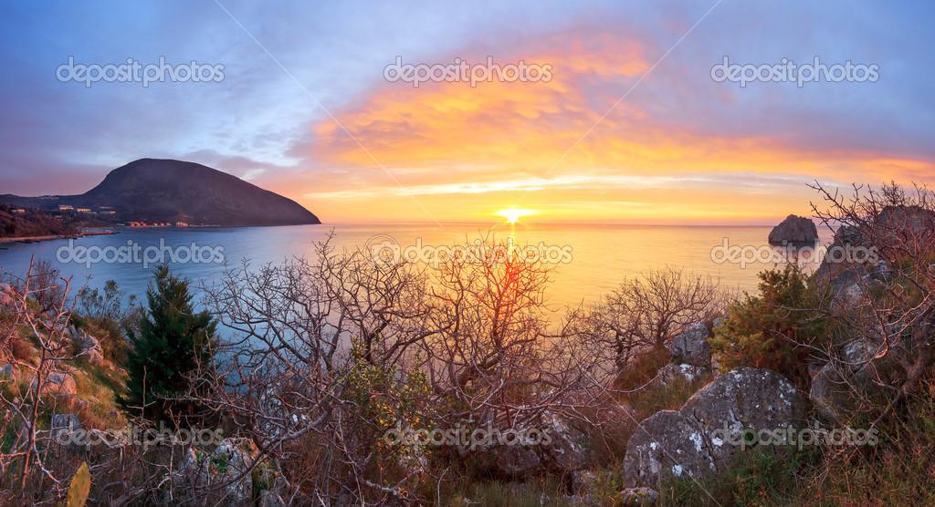 Seascape with sunrise in Artek. Crimea