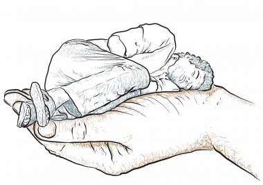 hand supporting a man