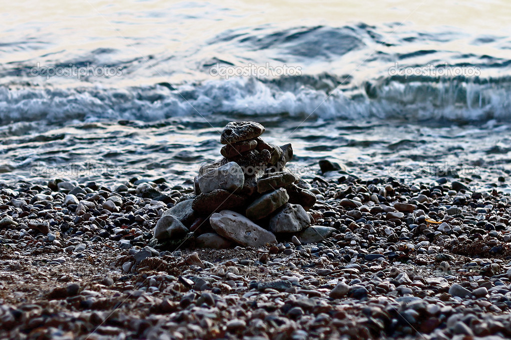 Pile of pebbles by the sea