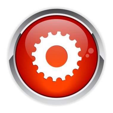 Button web settings icon red