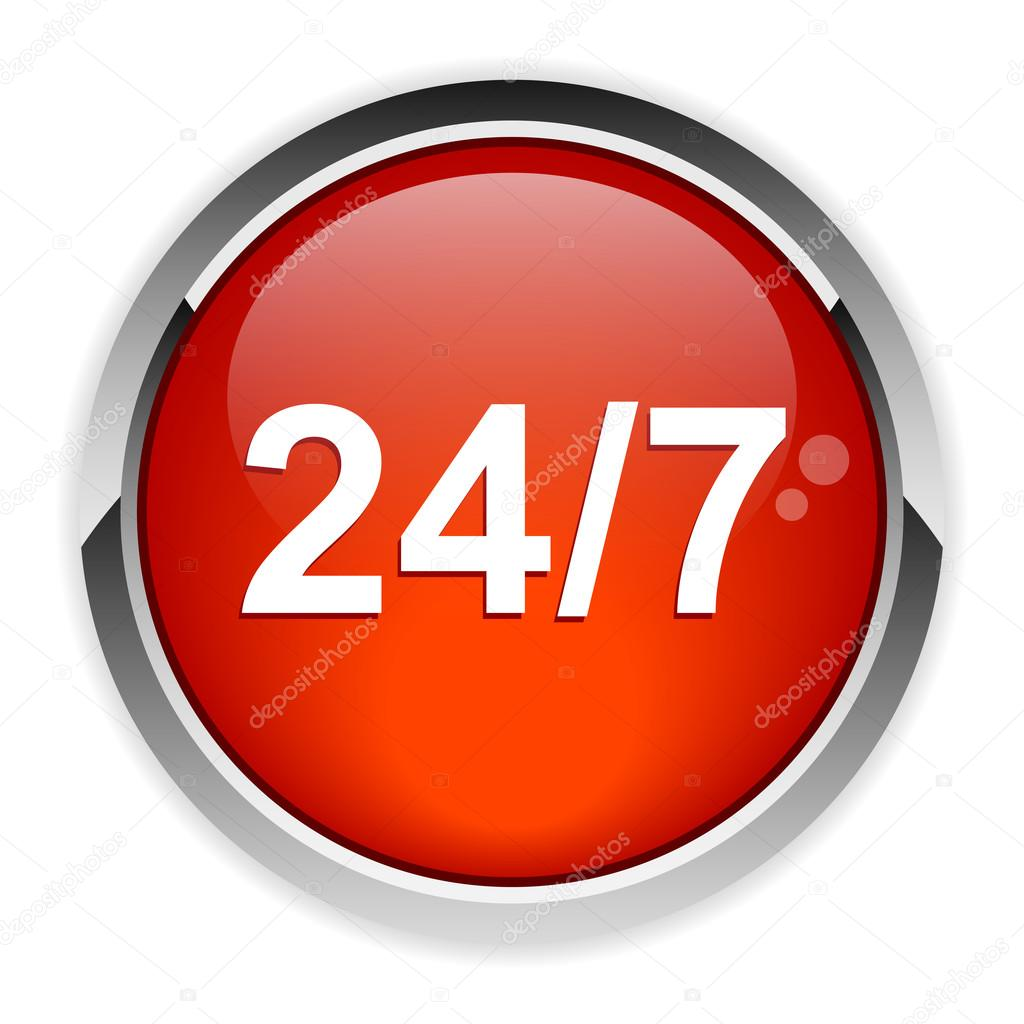 button twenty four hours a day glossy icon
