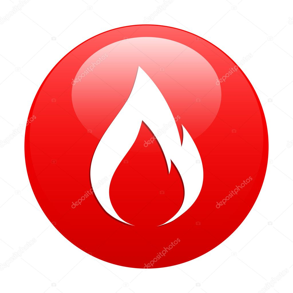 Button fire icon red