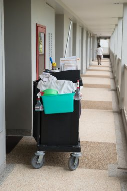 The hotel cleaning tool cart of housekeeper