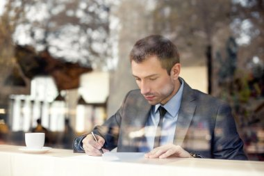 Businessman reading agreement