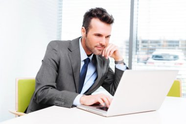 Businessman in office working