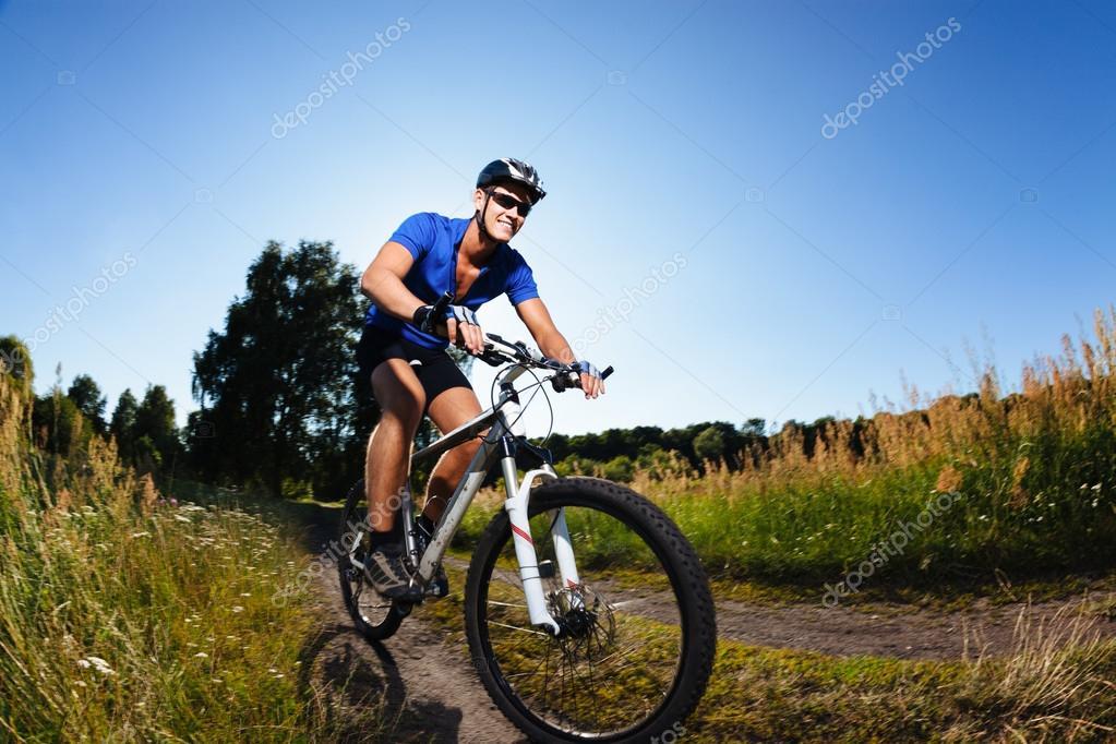 Cyclist riding mountain bike