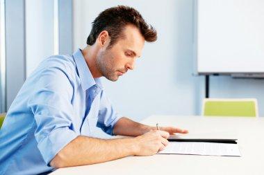 Student taking a written test