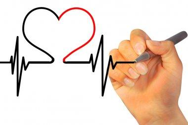 Hand drawing heart beat stock vector