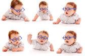 kolekce dítěte na bílém pozadí v brýlích