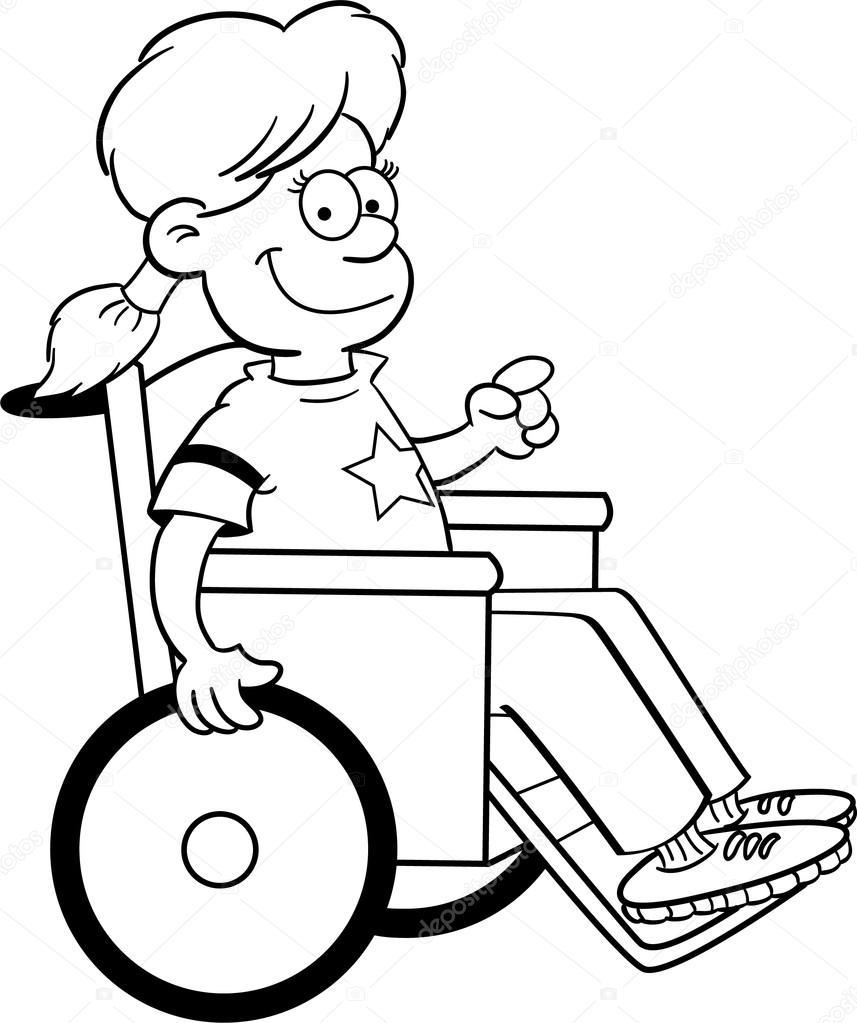 Tekerlekli Sandalyede Kız Stok Vektör Kenbenner 12434444