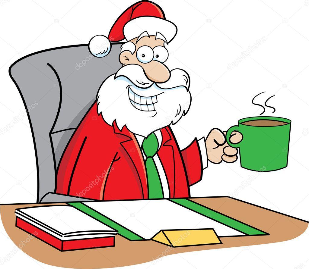 cartoon santa claus drinking coffee — stock vector © kenbenner #15107665